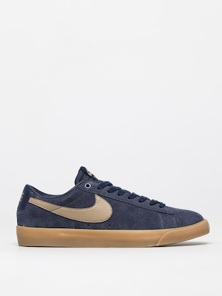 Nike SB Blazer Low Gt Shoes (midnight navy/khaki gum light brown)
