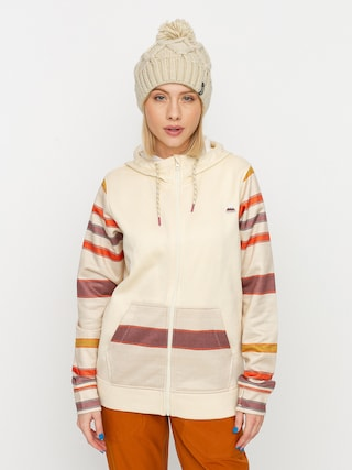 Burton Oak ZHD Active sweatshirt Wmn (creme brulee heather/creme brulee woven stripe)
