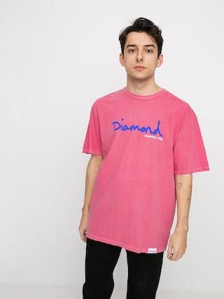 Diamond Supply Co. Og Script Overdyed Puff Print T-shirt (pink)