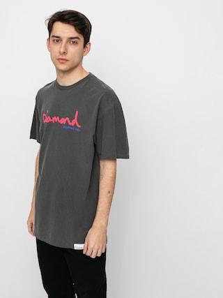Diamond Supply Co. Og Script Overdyed Puff Print T-shirt (black)