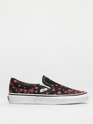 Vans Classic Slip On Shoes (valentines hearts black/racing red)