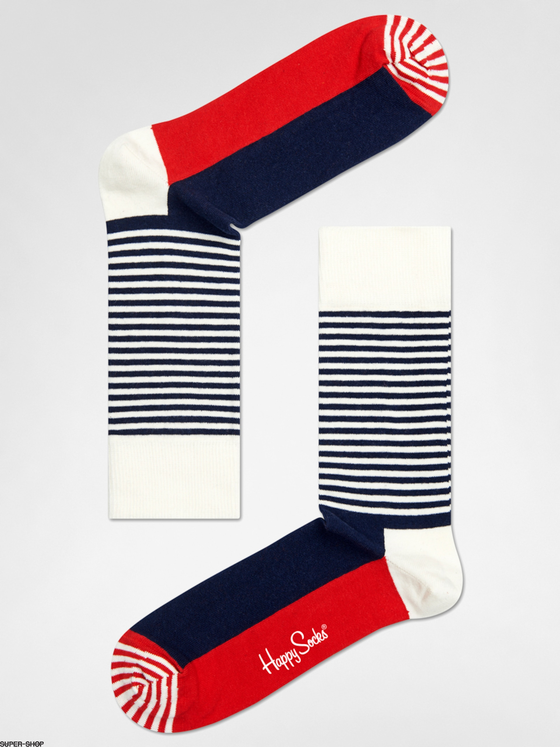 Happy Socks Socken Stripe Half (navy/red/white)