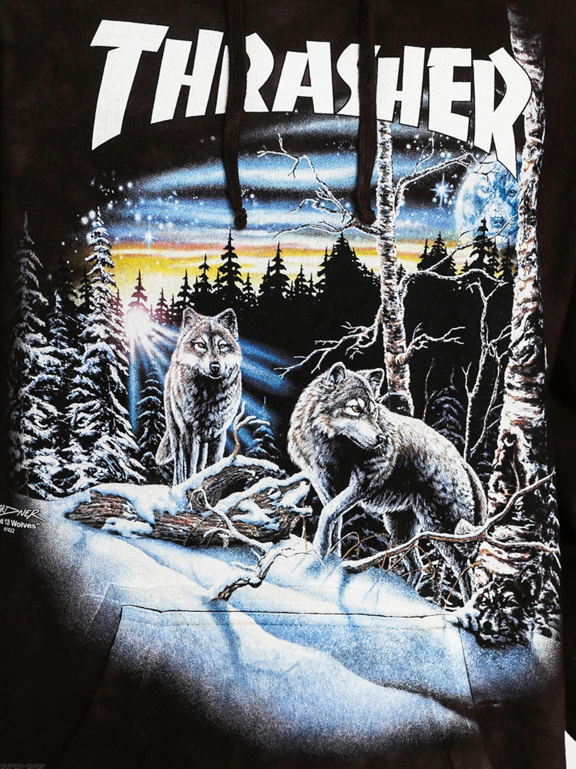ca6ab67a39db Thrasher Hoodie 13 Wolves HD (black tie dye)