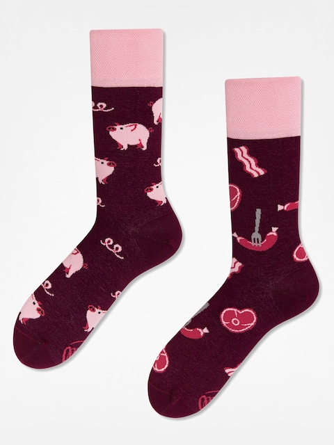 Many Mornings Socken Piggy Tales (burgundy/pink)