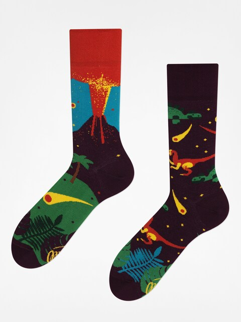 Many Mornings Socken The Dinosaurs (maroon/red)