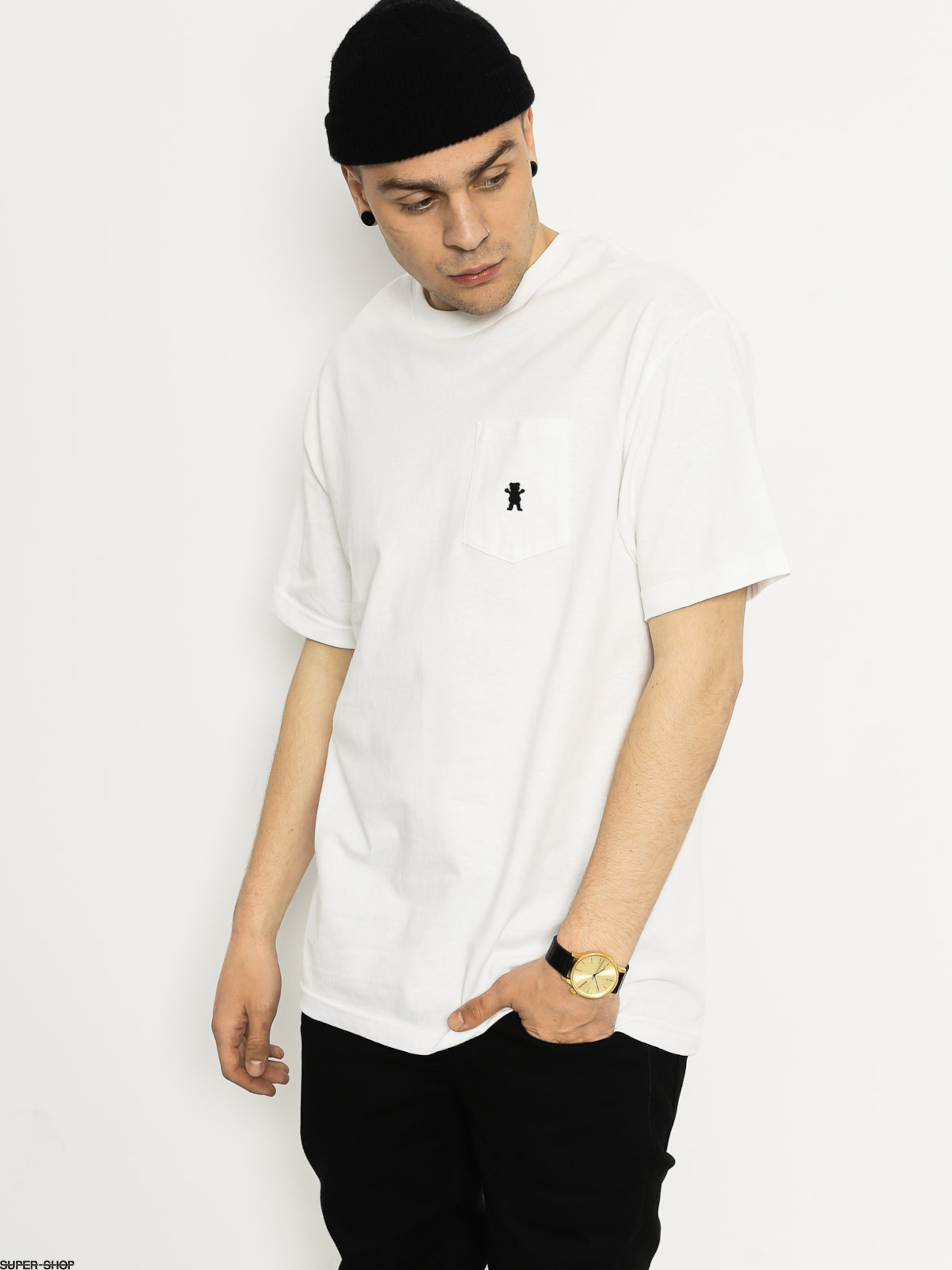 Grizzly Griptape T-shirt Embroidered Pocket (white)