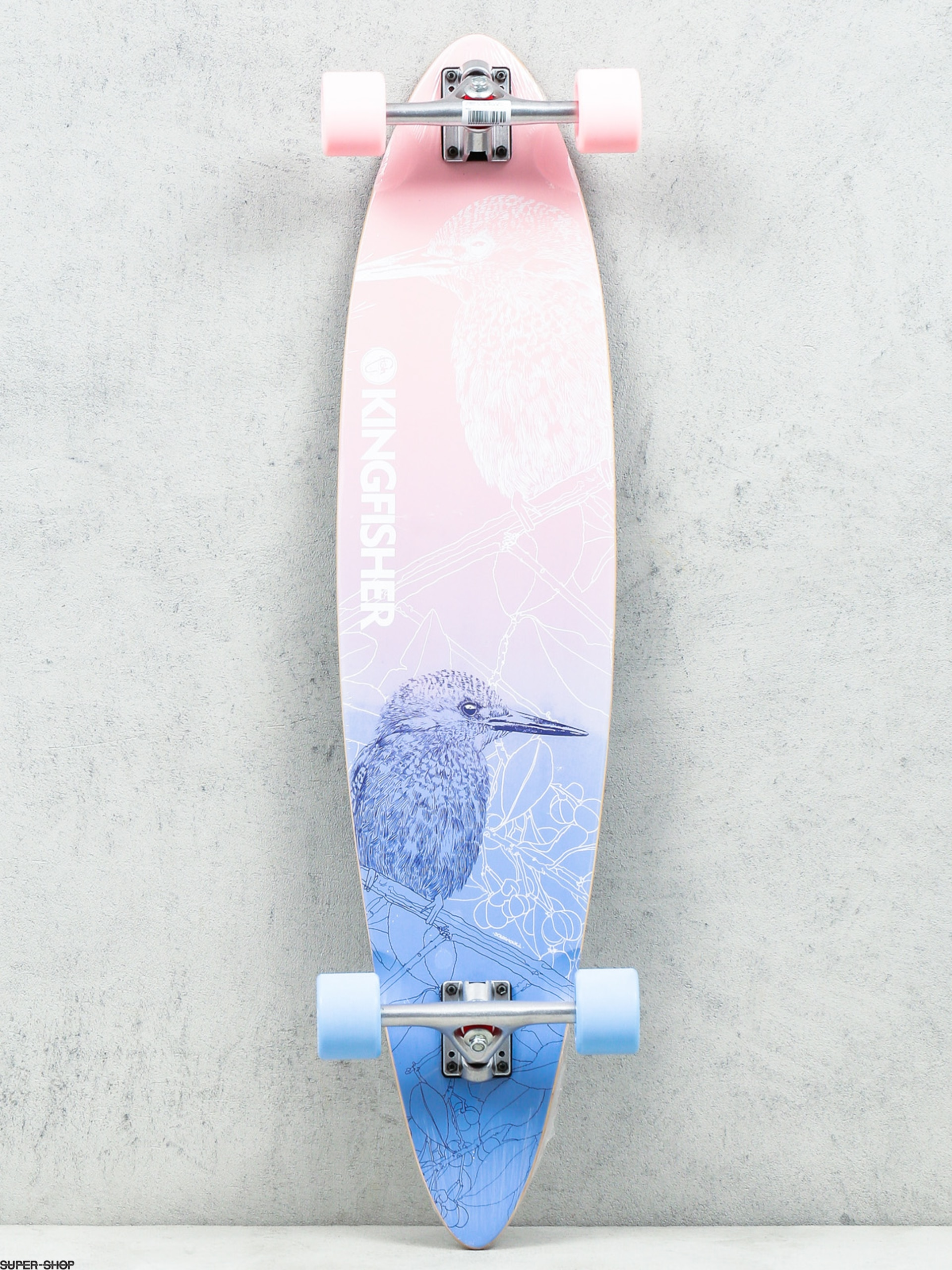 Fish Skateboards Longboard Kingfisher (silver/pink/blue)