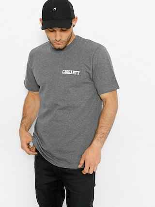 Carhartt T-shirt College Script (dark grey heather/white)