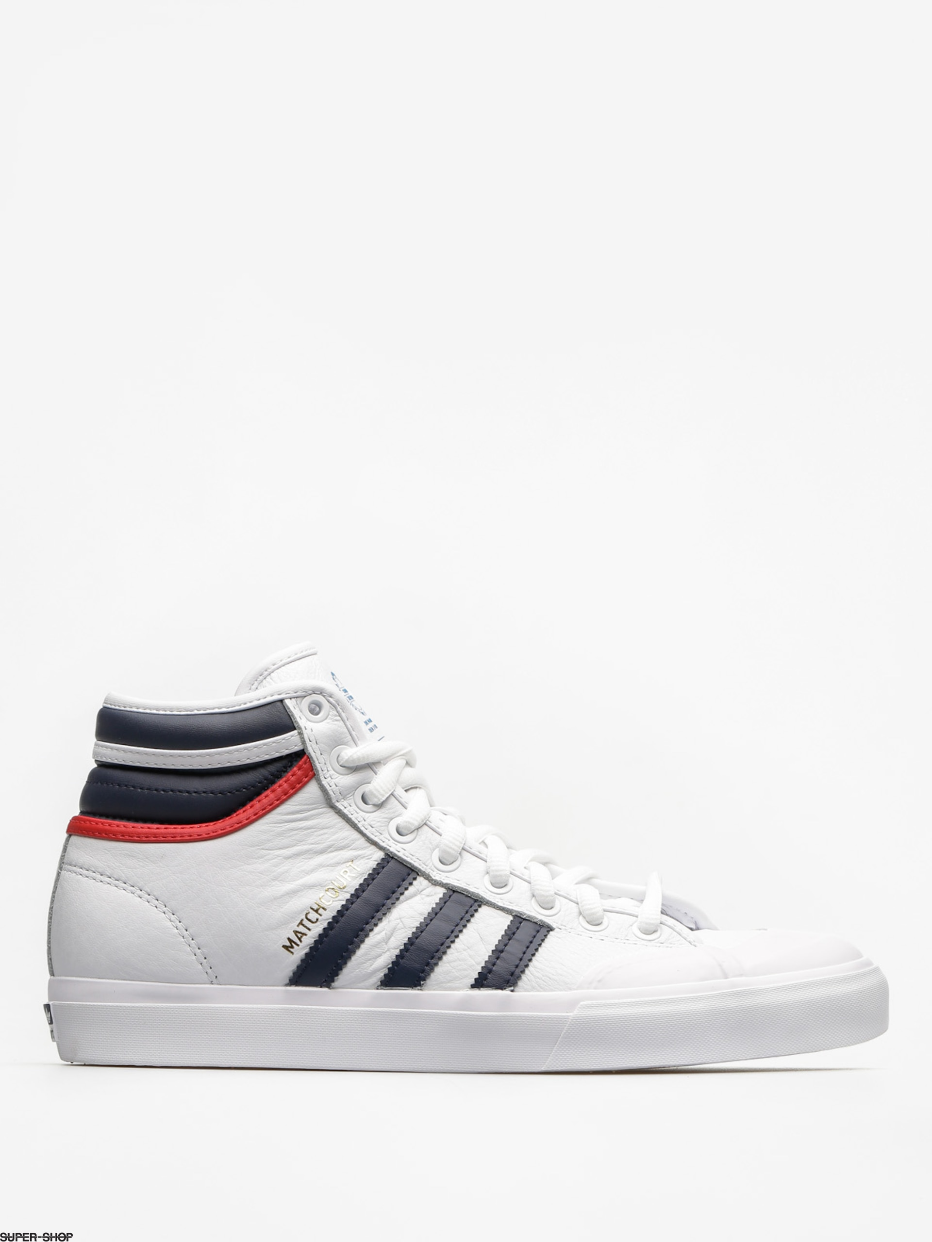 adidas Shoes Matchcourt High Rx2 (ftwr white/collegiate navy/scarlet)