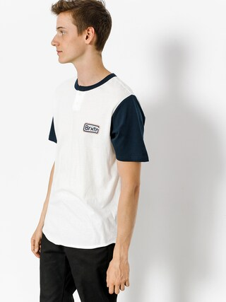 Brixton T-shirt Springfield Henley (off white/navy)