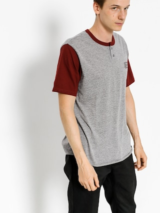 Brixton T-shirt Springfield Henley (heather grey/burgundy)