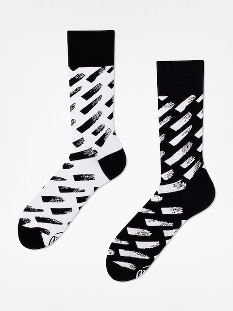 Many Mornings Socken Brush Strokes (black/white)