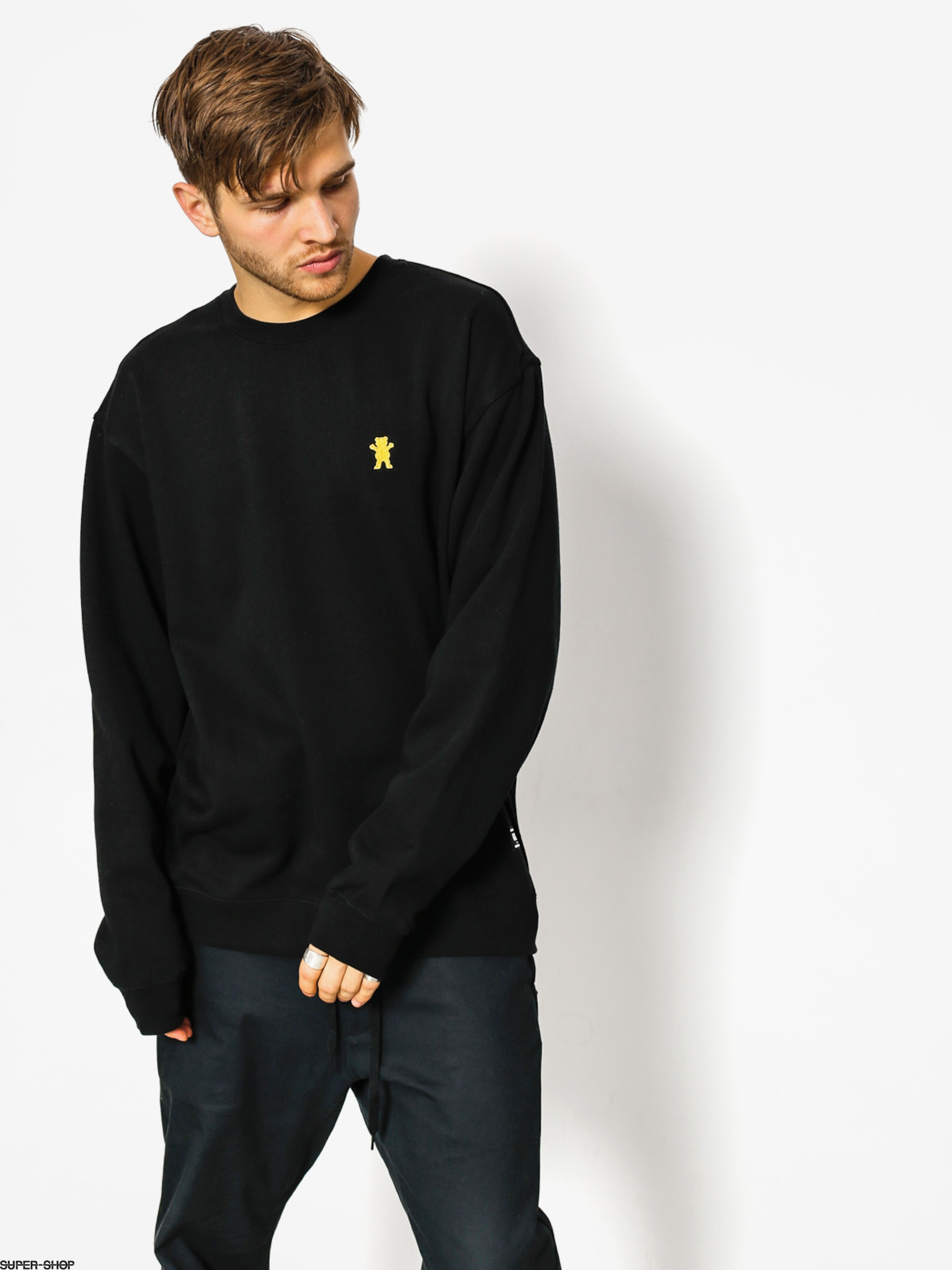 Grizzly Griptape Sweatshirt Og Bear Embroidered Crewneck (black)