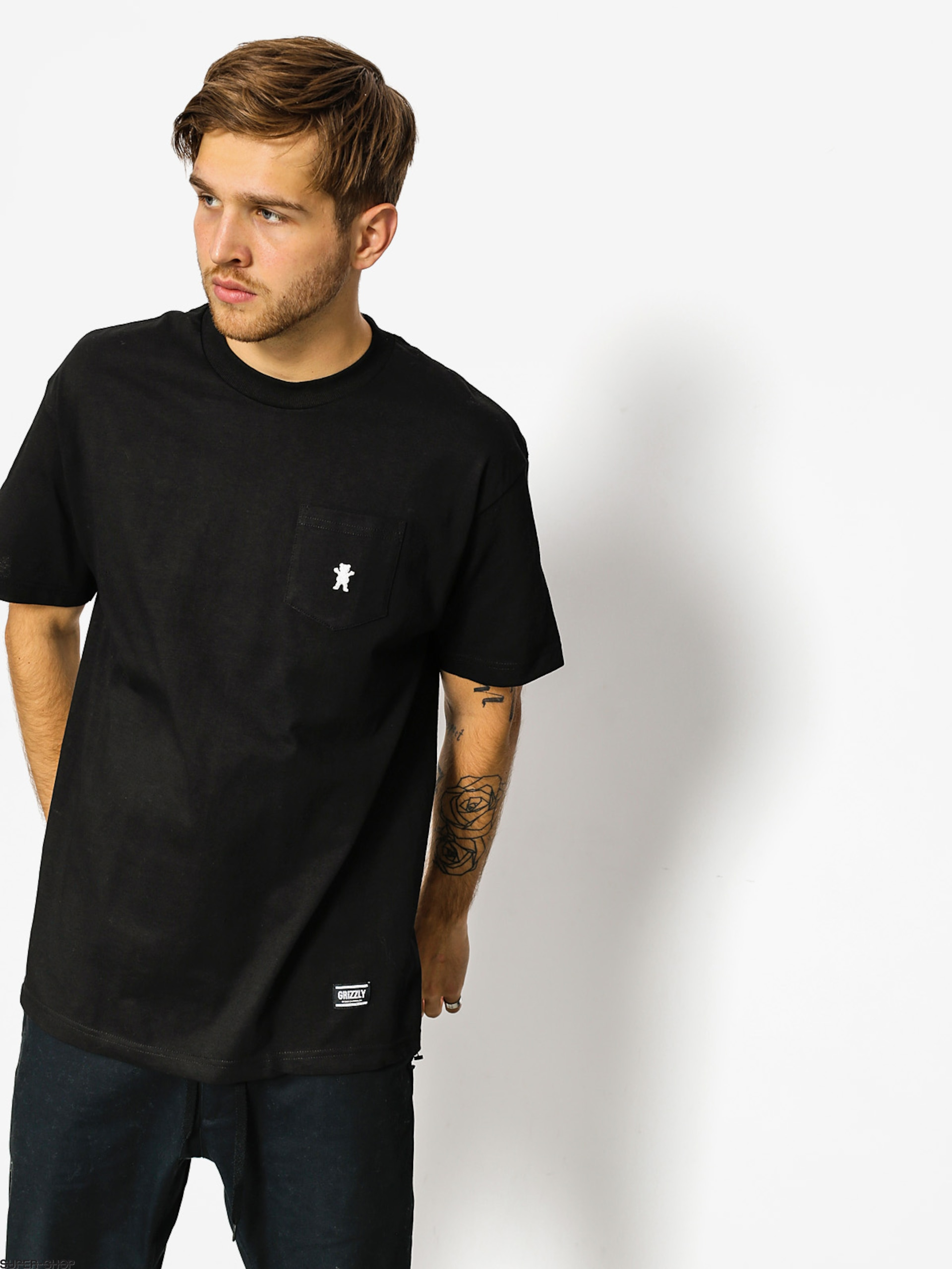 Grizzly Griptape T-shirt Embroidered Pocket (black)