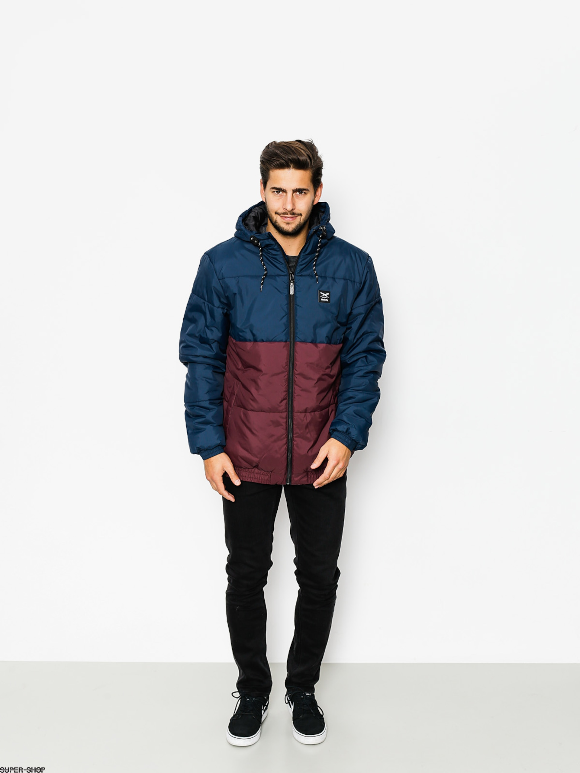 Iriedaily Jacke Stagger Hood (navy red)