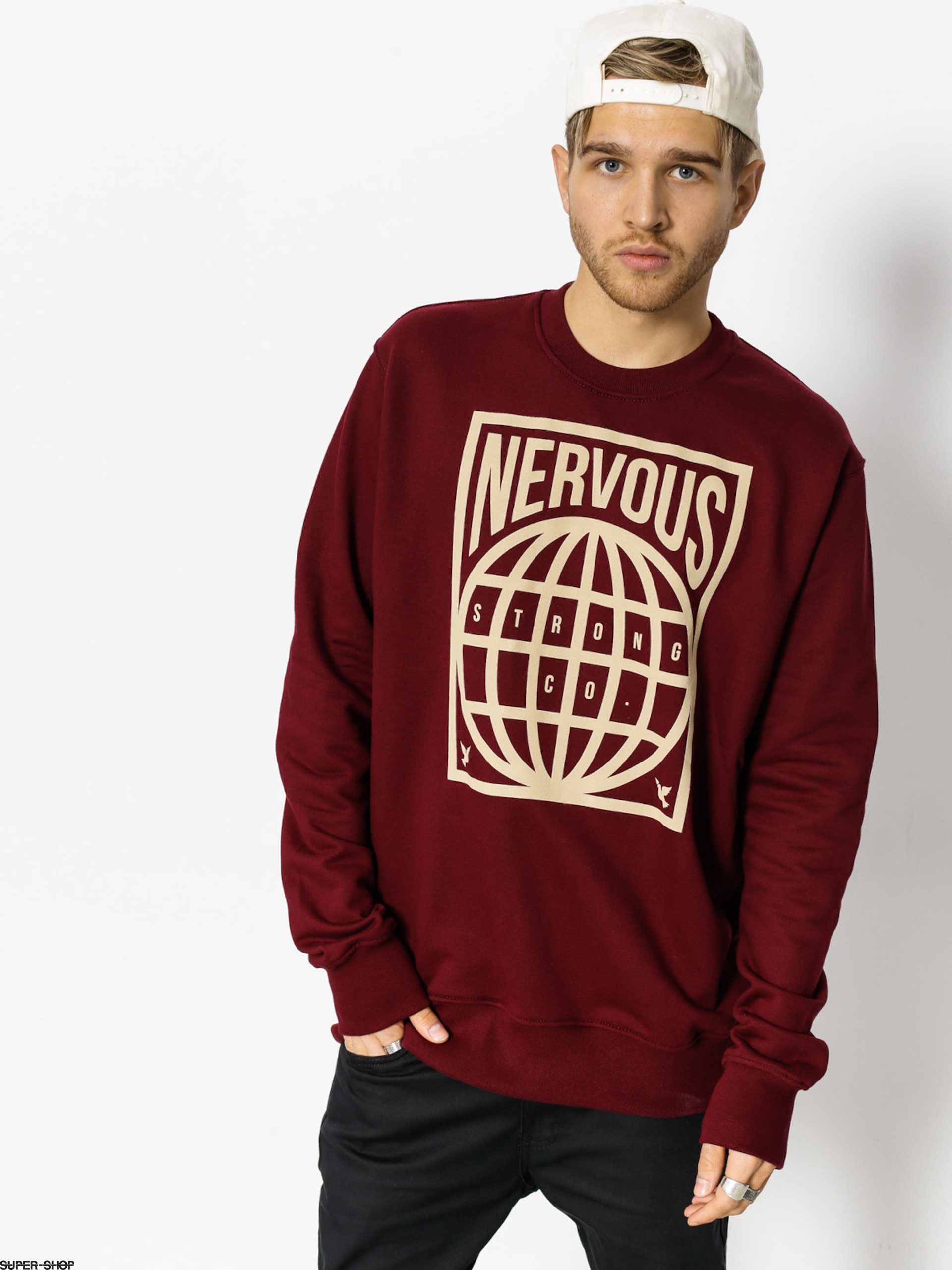Nervous Sweatshirt Map (maroon)