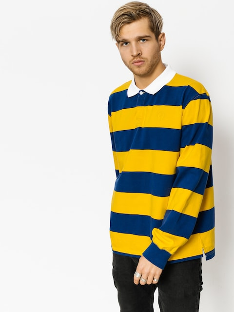 Polar Skate Polo t-shirt Block Stripe Ls (navy/yellow)