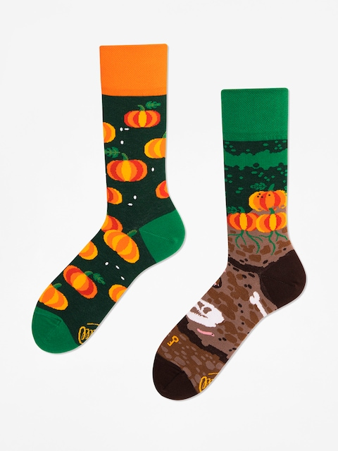 Many Mornings Socks The Pumpkins (green/orange)