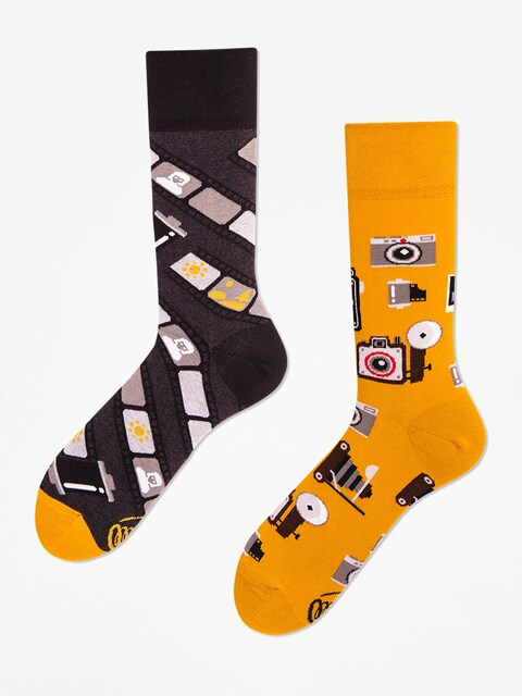 Many Mornings Socken Retro Camera (mustard/grey)
