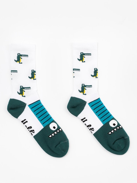Malita Socks Crocodiles (white/green)