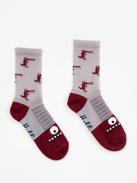 Malita Socks Crocodiles (grey/maroon)