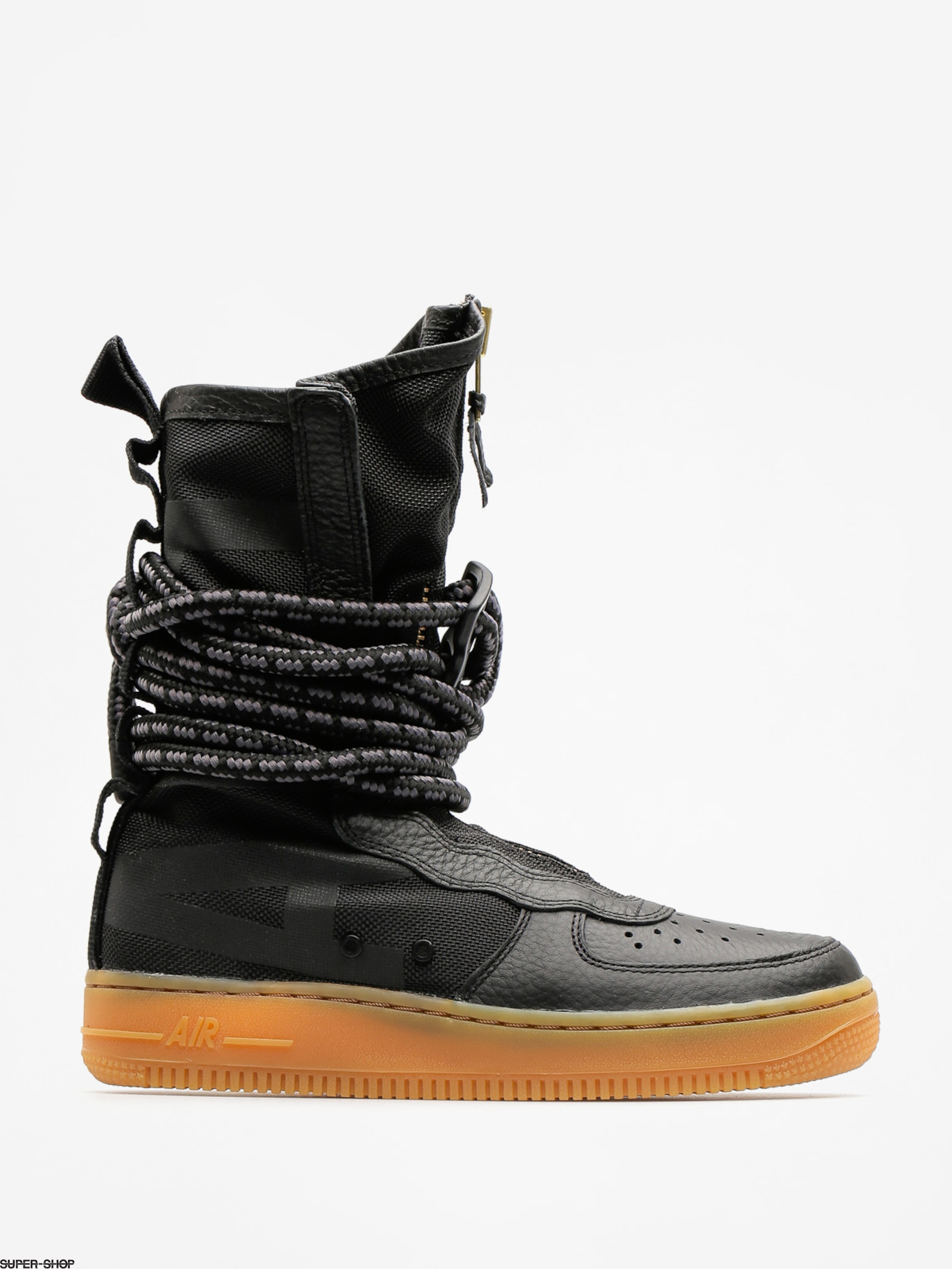 Nike Schuhe Sf Air Force 1 Hi Boot Wmn (black/black gum light brown)