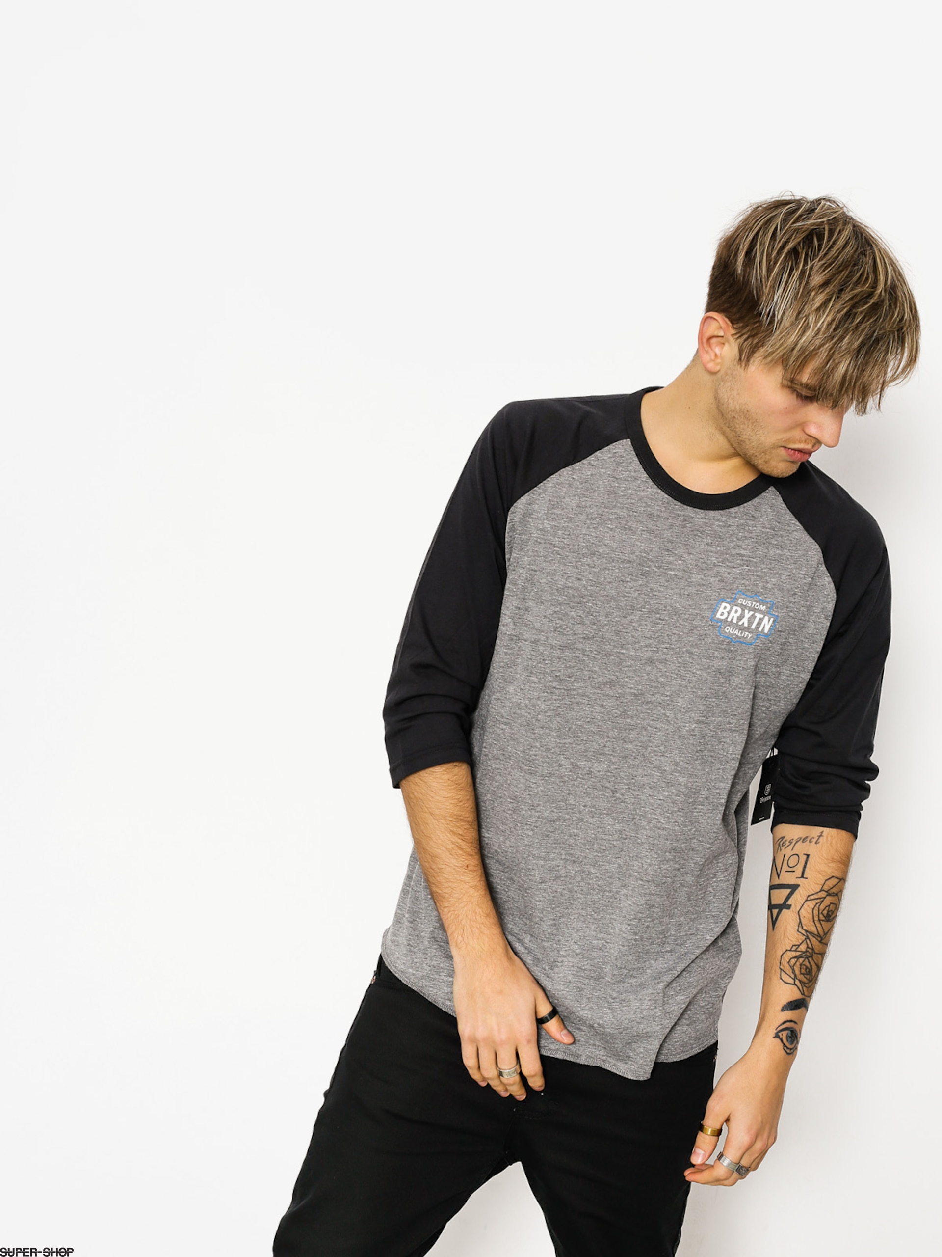 Brixton T-shirt Garth 3/4 Slv (heather grey/washed black)