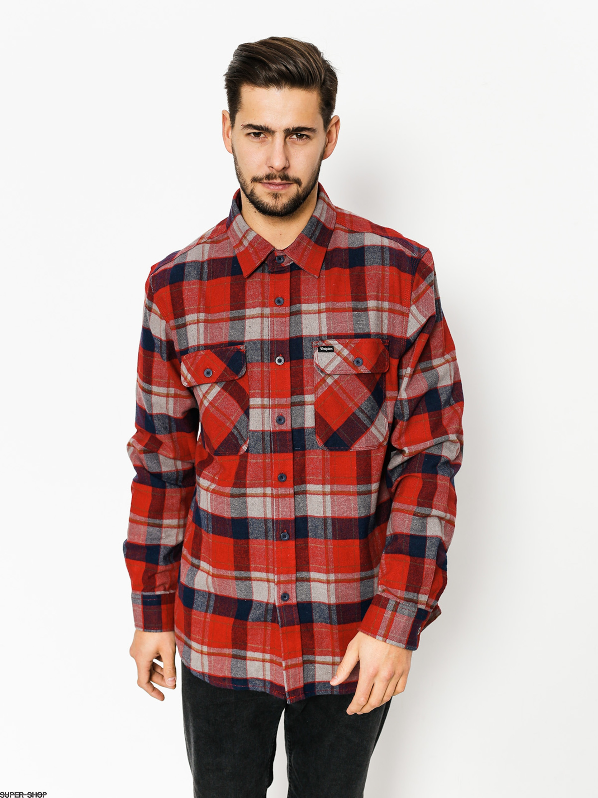 Brixton Shirt Bowery Ls (red/heather grey/navy)