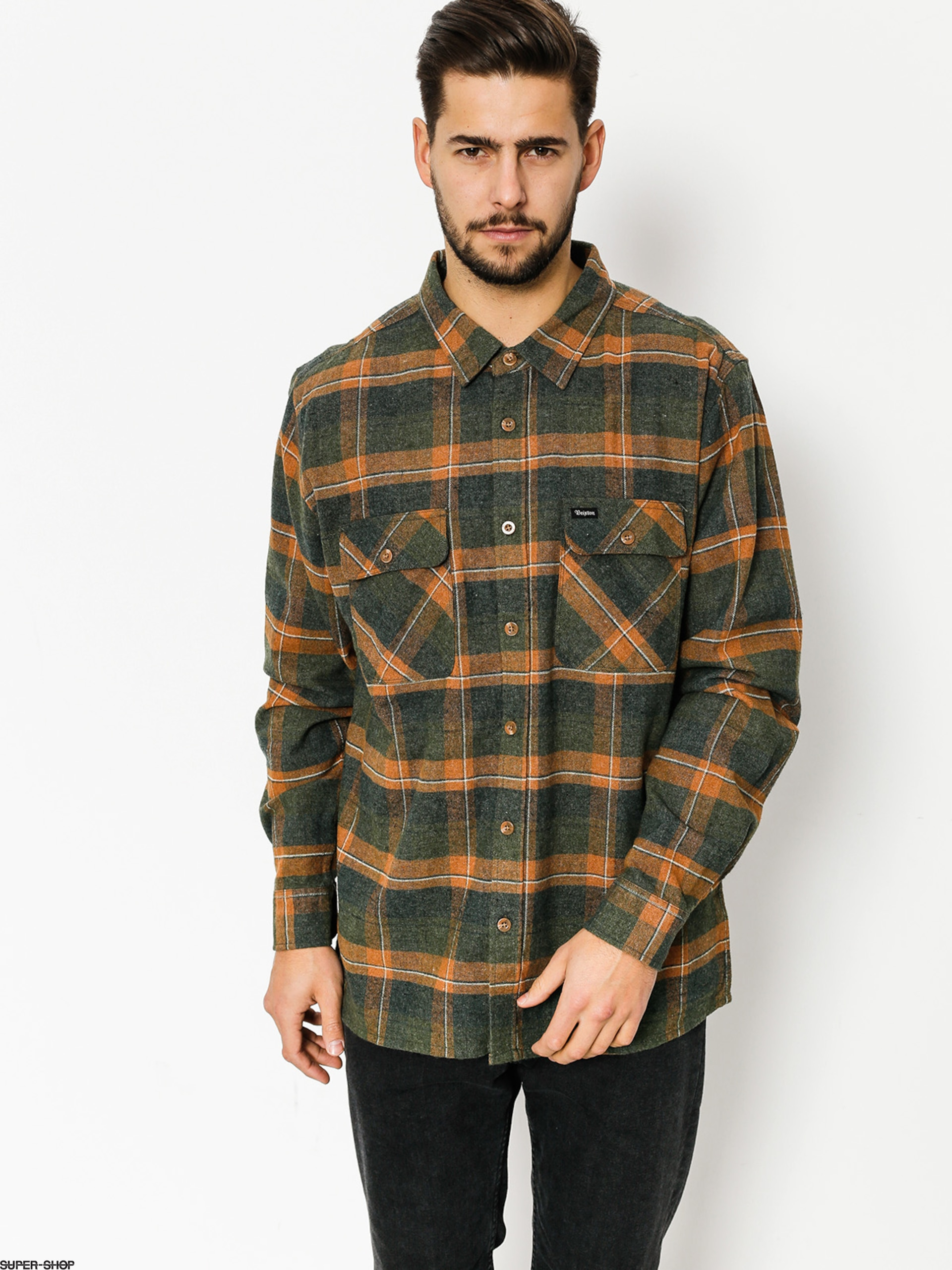 Brixton Shirt Archie Flannel Ls (green plaid)