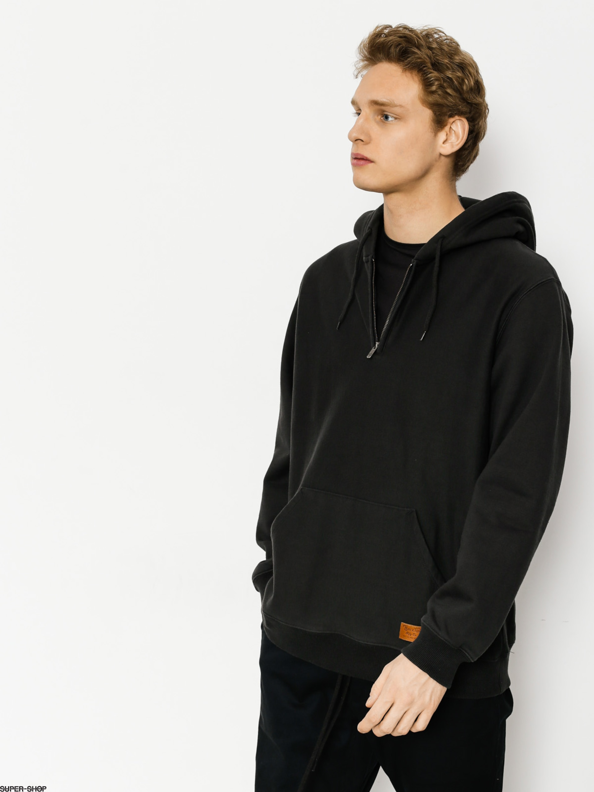 Brixton Hoodie Longman 1/2 Zip HD (washed black)