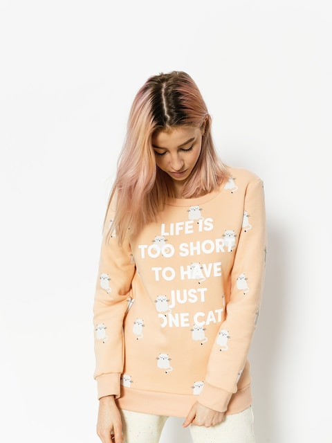 Diamante Wear Sweatshirt Life Is Too Short Cat Wmn