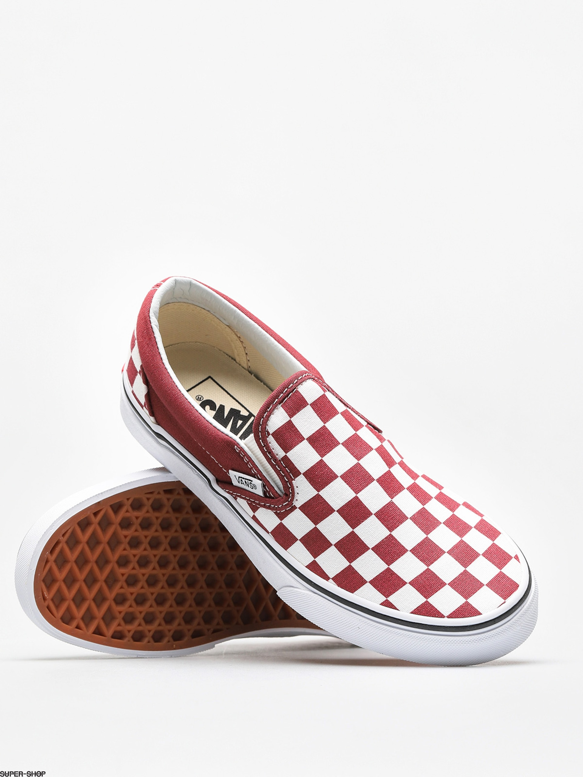 f6e3344733 Vans Shoes Classic Slip On (checkerboard apple butter true white)
