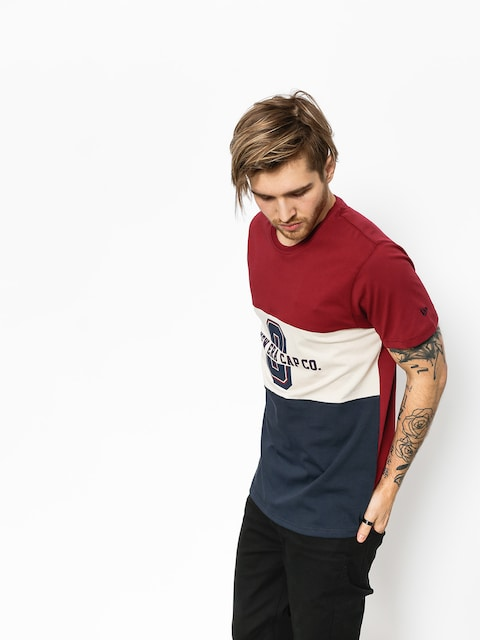 New Era T-shirt World Tricolor (maroon/tan/navy)