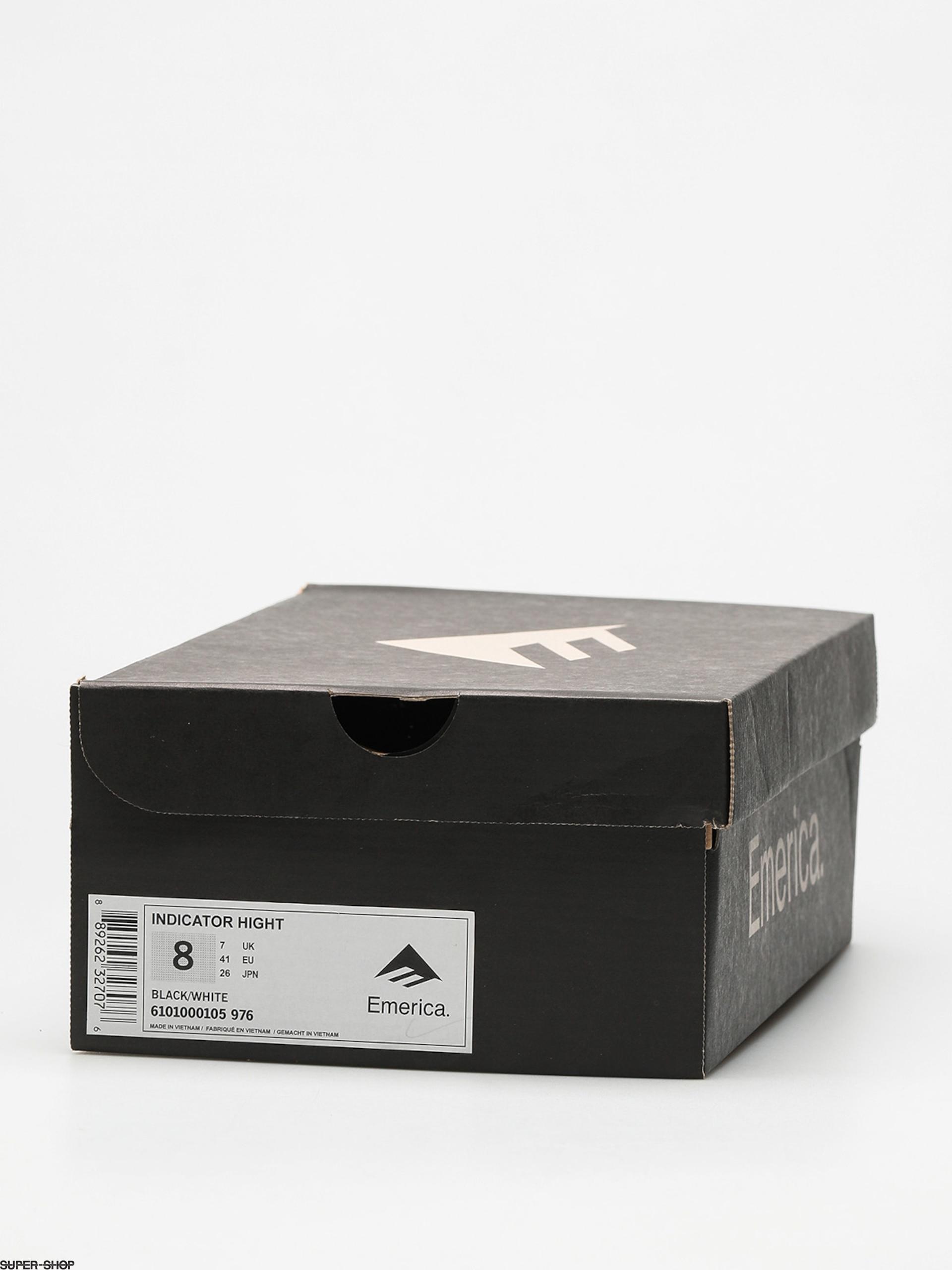 Emerica Indicator High Black White Suede Skate Shoes