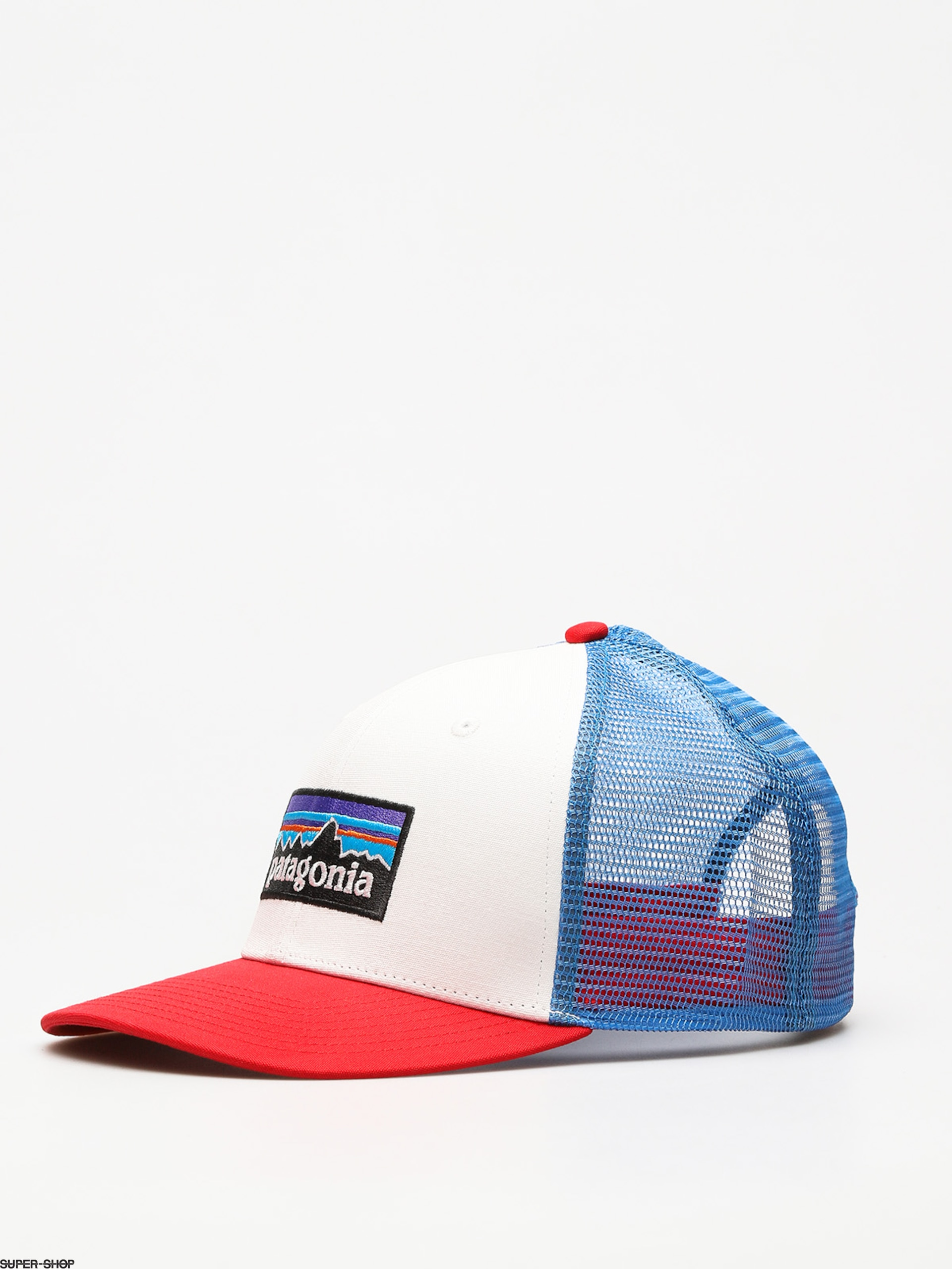 0fc1f5630 Patagonia Cap P6 Logo Trucker ZD (white w/fire/andes blue)