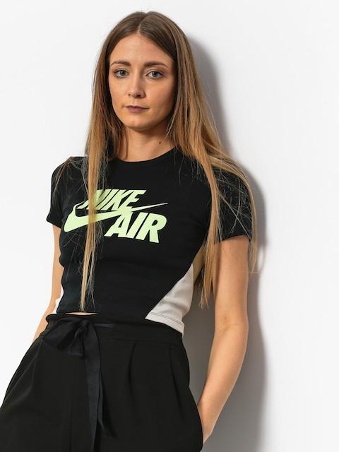 Nike T-Shirt Crop Qs Wmn (black/neutral olive/barley volt)