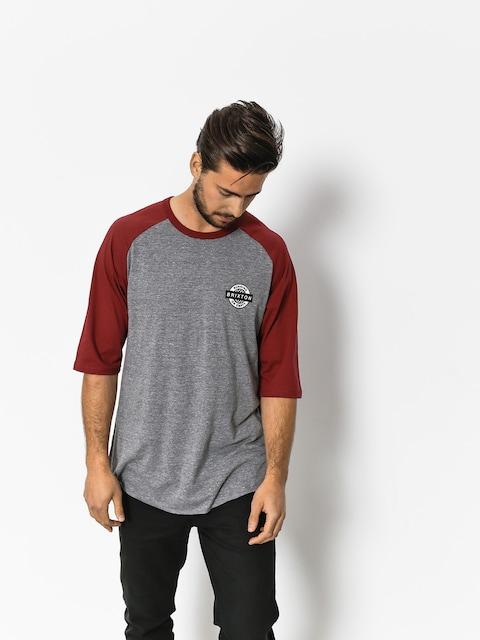 Brixton T-shirt Speedway 1/2 Slv (heather grey/burgundy)