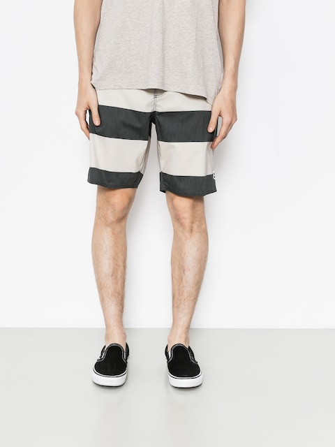 Brixton Shorts Boardshorty Barge Stripe Trunk (washed black/bone)