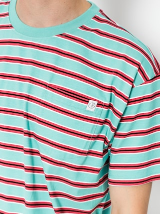 Polar Skate T-Shirt Striped Pocket (mint/coral red)