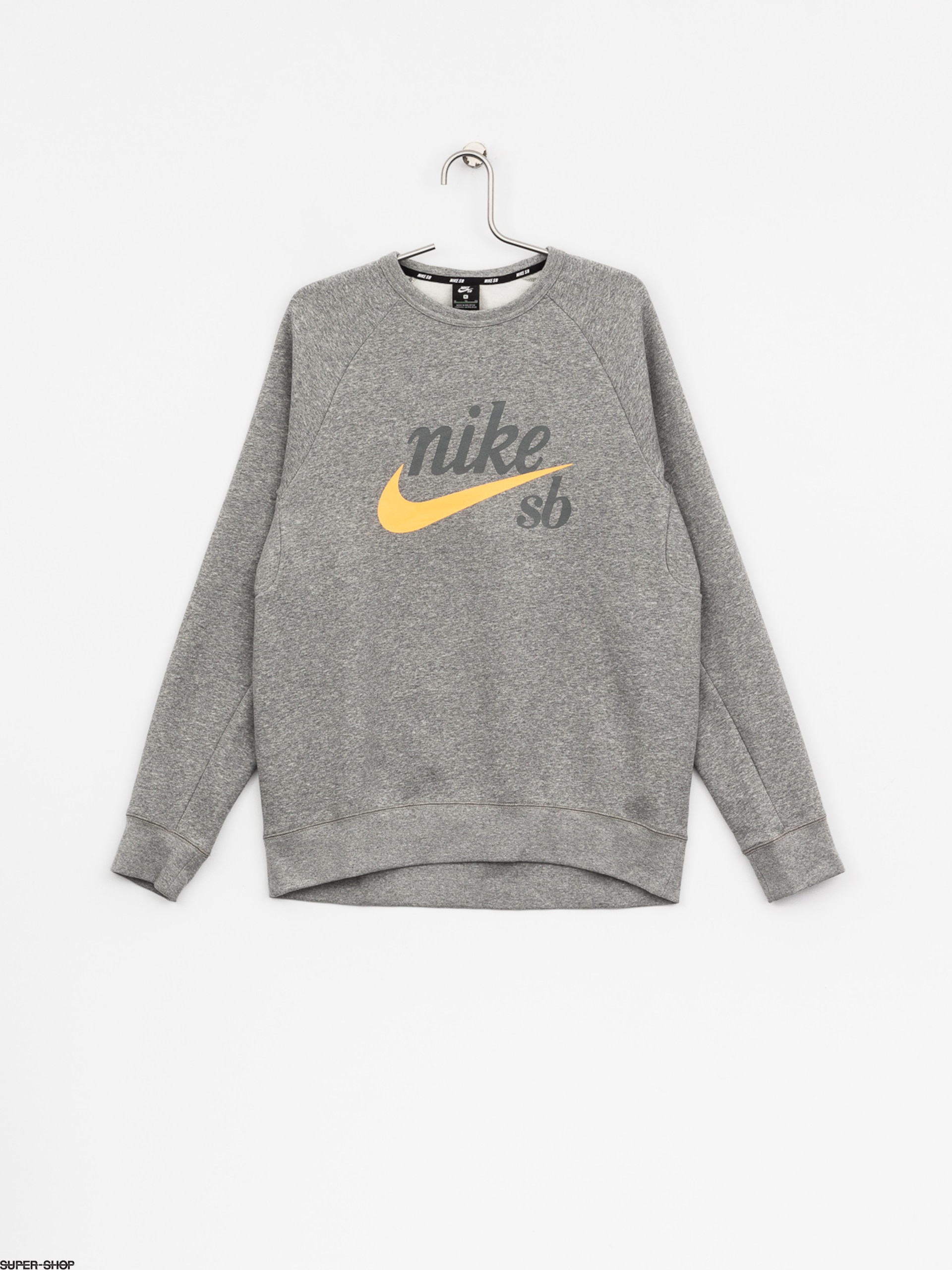 Nike SB Sweatshirt Sb Top Icon Crw Gfx Hrtg (dk grey heather/laser orange)