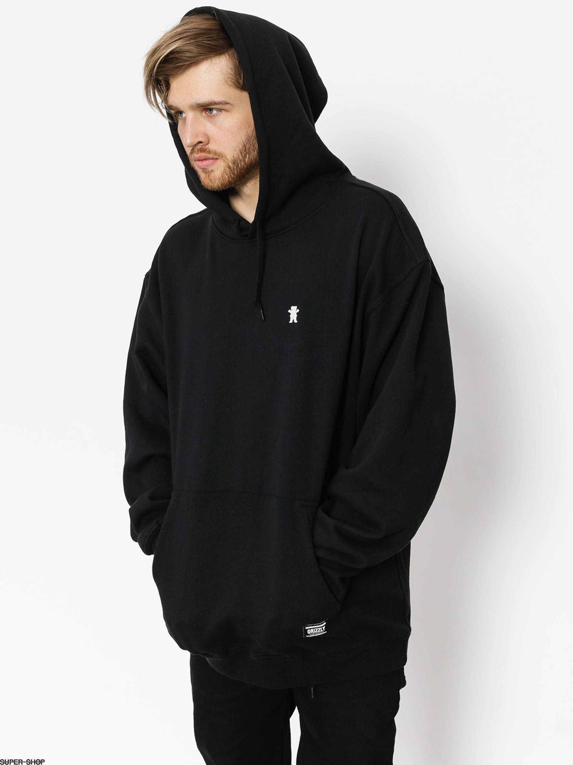 Grizzly Griptape Hoody Og Bear Embroidered HD (black/white)