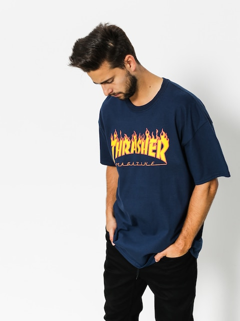 Thrasher T-Shirt Flame Logo (navy/blue)
