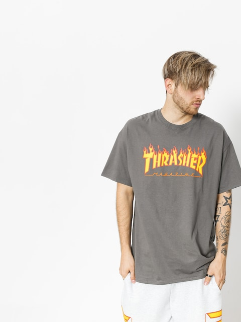 Thrasher T-shirt Flame Logo (charcoal grey)