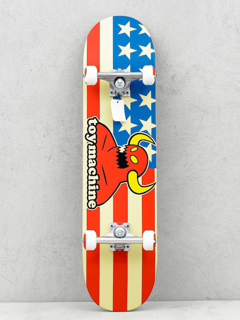 Toy Machine Skateboard American Monster (white/red/blue)