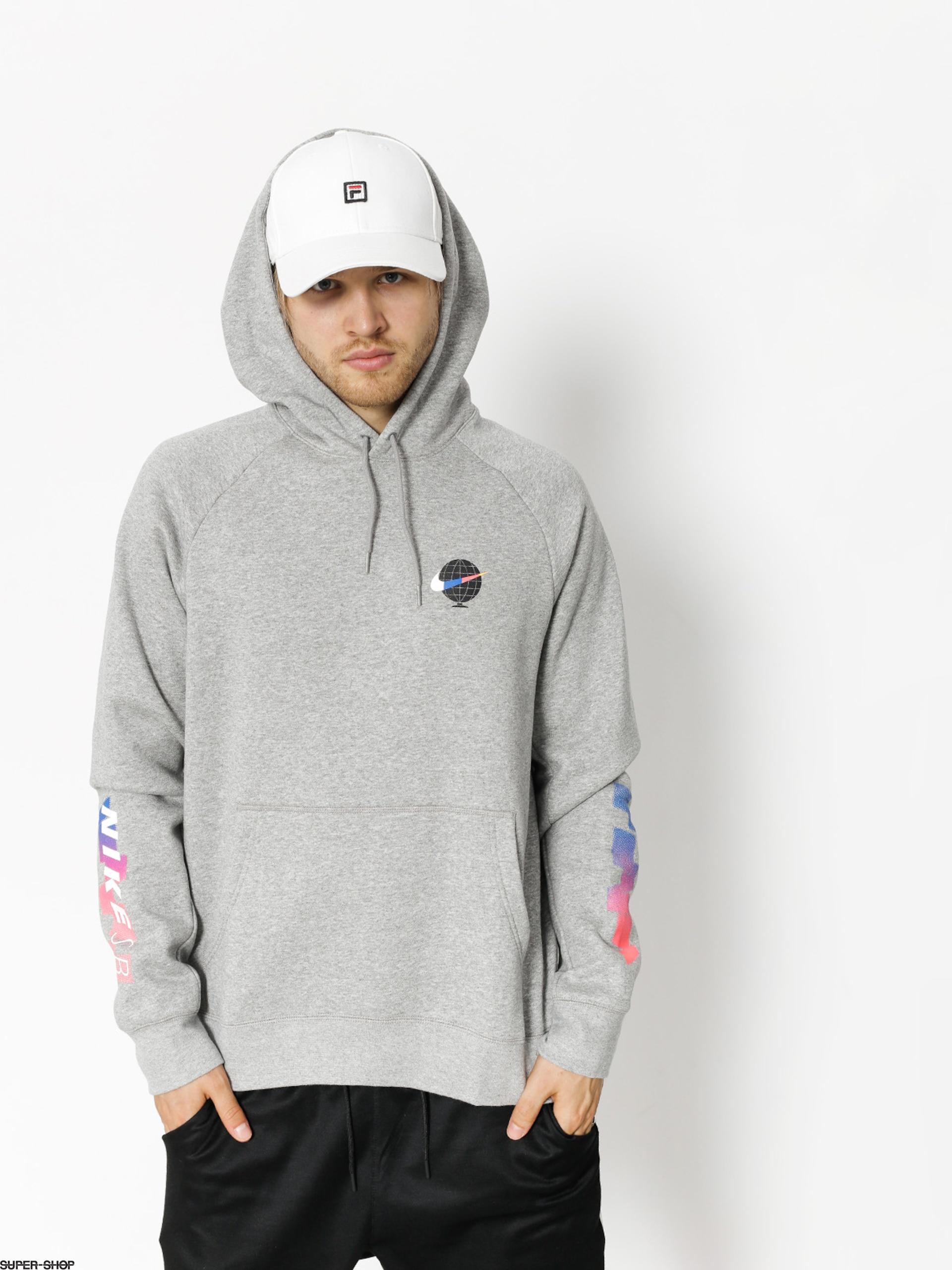Nike SB Icon GFX Pullover Hoodie Dk Grey HeatherWhite