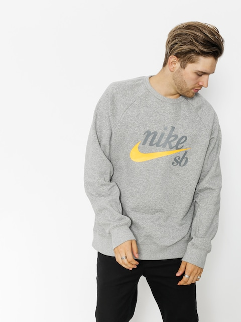 Nike SB Sweatshirt Sb Top Icon Crw Gfx Hrtg (dk grey heather/laser orange)