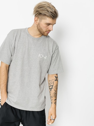 Polar Skate T-shirt Script Logo (heather grey)