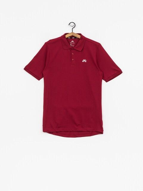 Nike SB Polo t-shirt Sb Dri Fit Pique (red crush/white)