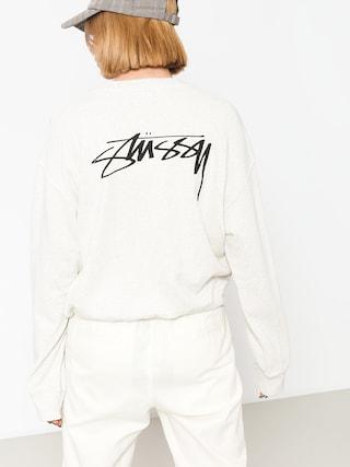 Stussy Sweatshirt Ezra Cropped Baggy Wmn (white heather)