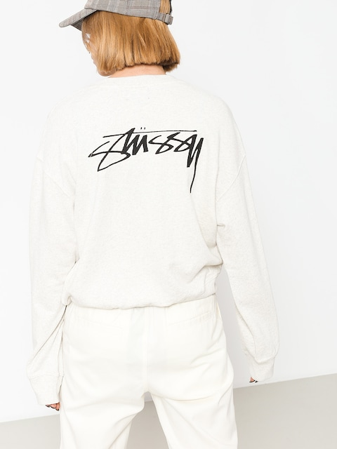 Stussy Sweatshirt Ezra Cropped Baggy Wmn (white heather)